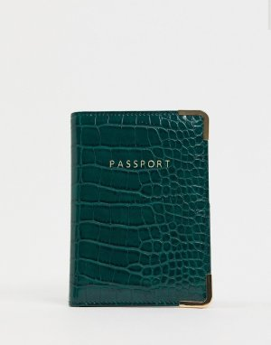Зеленая обложка для паспорта с крокодиловым эффектом -Зеленый ASOS DESIGN
