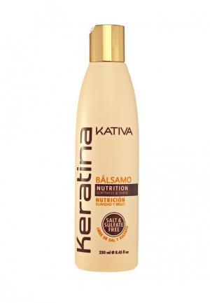 Бальзам для волос Kativa Кератиновый укрепляющий всех типов, 250 мл. Цвет: белый
