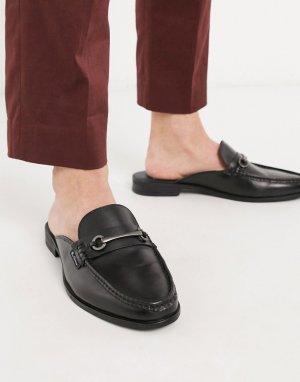 Черные кожаные лоферы без задников -Черный Ben Sherman