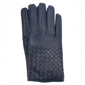 Кожаные перчатки Bottega Veneta. Цвет: синий