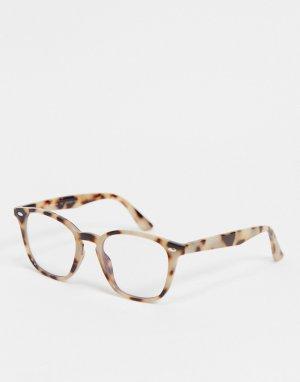 Круглые очки в светло-коричневой черепаховой оправе с фильтром синего света -Коричневый цвет AJ Morgan