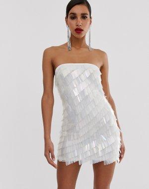 Платье мини бандо с отделкой пайетками Peace and Love-Серебряный Missguided