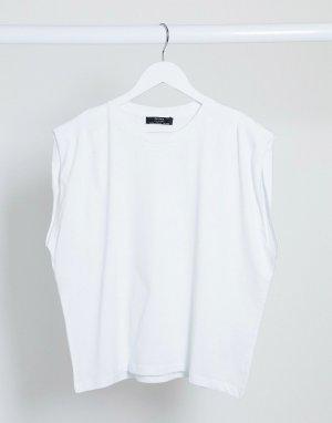 Белая футболка с объемными плечами -Белый Bershka