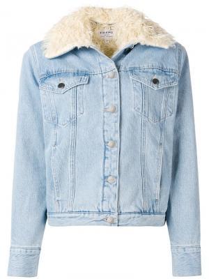 Джинсовая куртка с меховой подкладкой FRAME. Цвет: синий