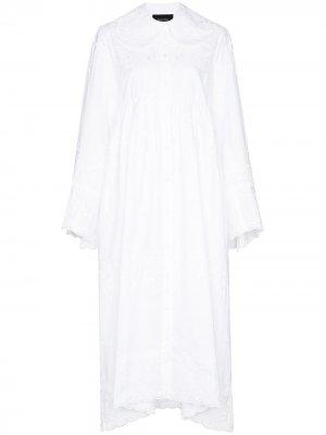 Платье-рубашка с кружевом Simone Rocha. Цвет: белый