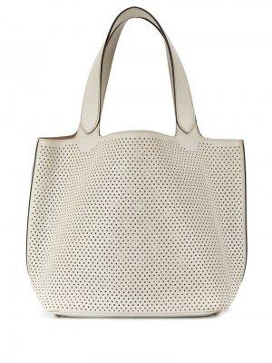 Perforated tote bag Alaïa Pre-Owned. Цвет: белый