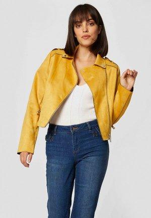 Куртка кожаная Morgan. Цвет: желтый