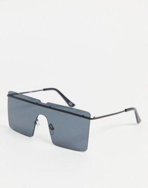 Большие солнцезащитные очки квадратной формы без оправы с черными стеклами и надбровной планкой -Черный ASOS DESIGN