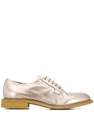 Броги на шнуровке Del Carlo. Цвет: золотистый