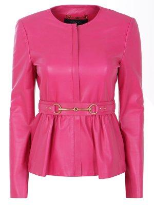 Кожаная куртка с поясом GUCCI. Цвет: розовый