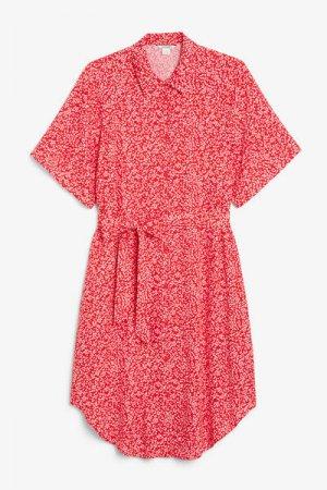 Платье-рубашка миди Monki. Цвет: красный