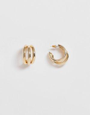 Золотистые серьги-кольца -Золотой ASOS DESIGN