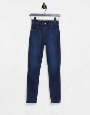 Укороченные зауженные джинсы синего выбеленного цвета с завышенной талией Alana-Голубой J Brand