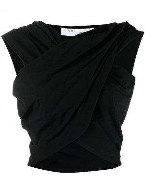 Укороченная блузка с драпировкой IRO. Цвет: черный