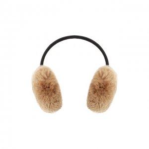 Наушники из меха кролика Yves Salomon. Цвет: бежевый