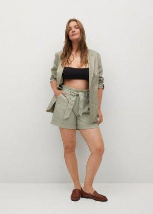Джинсовые шорты с поясом - Pilar Mango. Цвет: морская волна