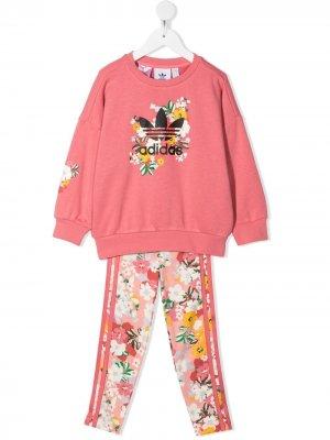 Комплект из толстовки и легинсов с цветочным принтом adidas Kids. Цвет: розовый
