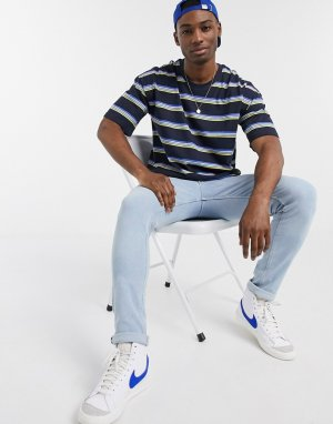 Темно-синяя футболка в полоску -Темно-синий Esprit