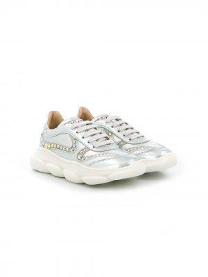 Декорированные кроссовки ELIE SAAB JUNIOR. Цвет: серебристый