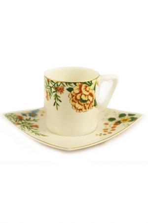 Набор, 6 чайных пар Royal Bone China. Цвет: зеленый