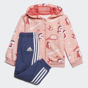 Комплект: толстовка и брюки Graphic Performance adidas. Цвет: розовый