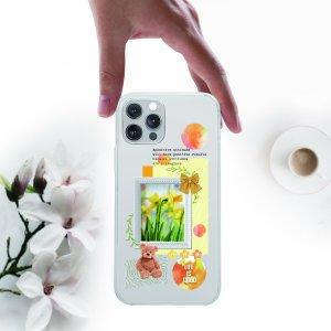 Чехол для телефона с принтом медведя и фоторамки SHEIN. Цвет: прозрачный