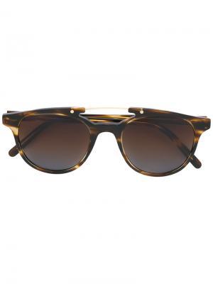 Солнцезащитные очки в черепаховой оправе Eleventy. Цвет: коричневый