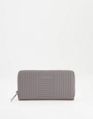 Стеганый кошелек синевато-серого цвета City-Черный цвет Fiorelli