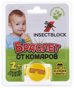 Браслет от комаров детский Insectblock. Цвет: желтый