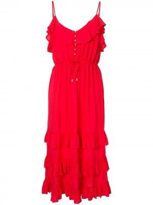 Платье мини Bethan с оборками Melissa Odabash. Цвет: красный