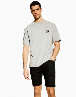 Черные джинсовые шорты зауженного кроя -Черный цвет Topman