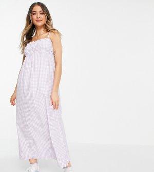 Сиреневое присборенное платье миди на бретелях в клетку -Фиолетовый цвет Stradivarius