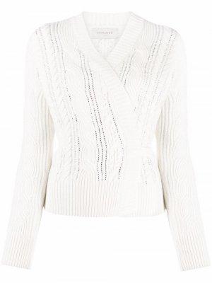 Cable-knit wrap jumper Ermanno. Цвет: белый
