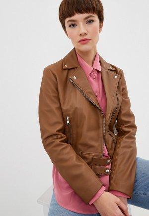 Куртка кожаная Pinko. Цвет: коричневый