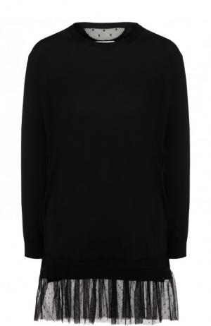 Пуловер из смеси кашемира и шелка с оборкой REDVALENTINO. Цвет: черный