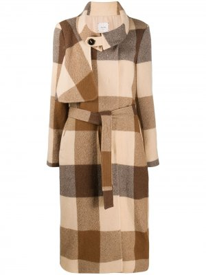 Клетчатое пальто с поясом Alysi. Цвет: коричневый