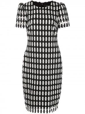 Платье в клетку Badgley Mischka. Цвет: черный
