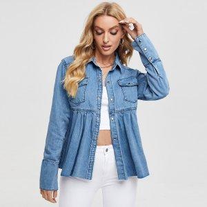 Джинсовые куртки и пальто SHEIN. Цвет: легко-синий
