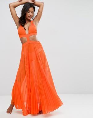 Плиссированное пляжное платье макси с вырезом -Оранжевый ASOS DESIGN