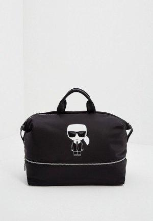 Сумка дорожная Karl Lagerfeld IKONIK. Цвет: черный
