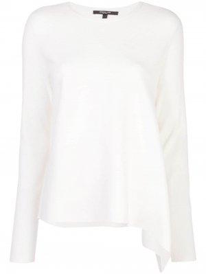 Трикотажный пуловер асимметричного кроя с длинными рукавами Derek Lam. Цвет: белый