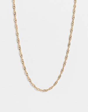 Золотистое ожерелье-чокер с цепочкой перекрученного плетения -Золотистый Topshop