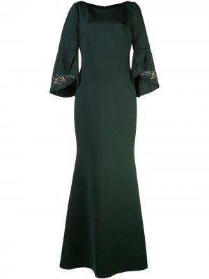 Платье А-силуэта с расклешенными рукавами Badgley Mischka