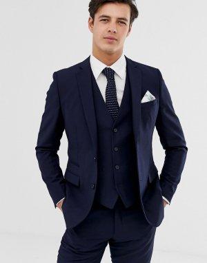 Однотонный приталенный пиджак -Темно-синий French Connection