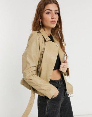 Кожаная куртка кремового цвета Emma-Кремовый Barneys Originals