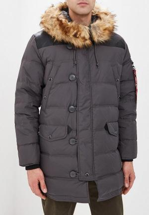 Пуховик Alpha Industries N3-B Puffer. Цвет: серый