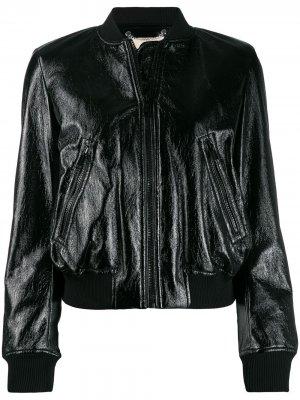 Лакированная куртка-бомбер Michael Kors. Цвет: черный