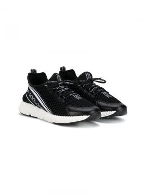 Кроссовки-слипоны Dolce & Gabbana Kids. Цвет: черный