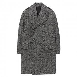 Двубортное пальто Balmain. Цвет: серый