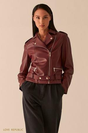 Куртка-косуха из экокожи с ремнем на заклепках LOVE REPUBLIC